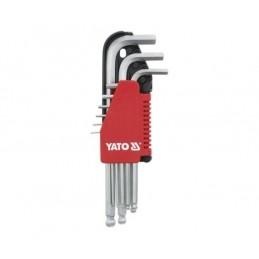 Zestaw kluczy imbusowych z kulką HEX YATO 1,5-10mm, 9cz.