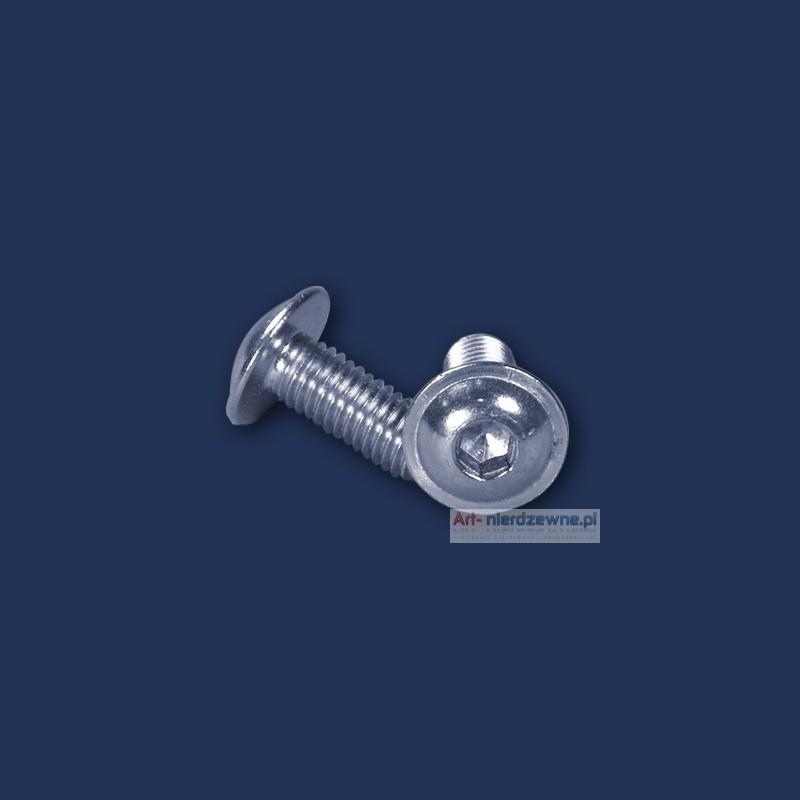 śruba M 3x6 ISO 7380 MF A2 kulista z kołnierzem nierdzewna